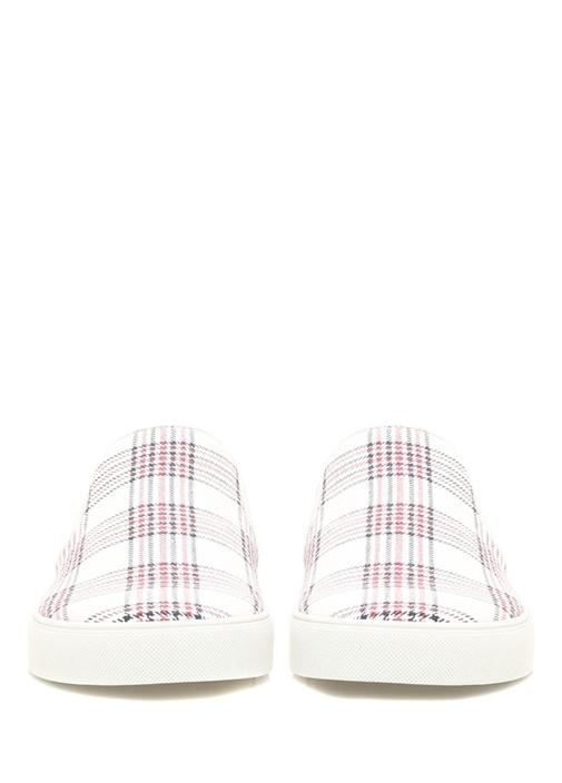 Beyaz Kırmızı Ekose Desenli Erkek Sneaker