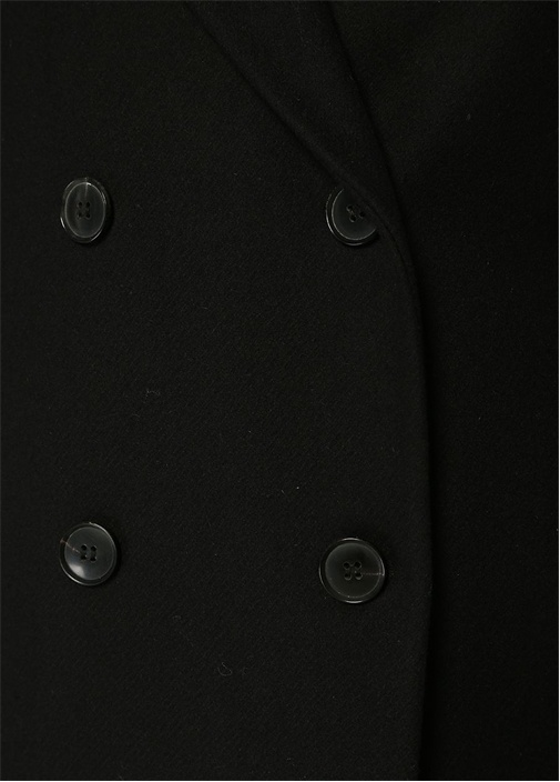 Siyah Kelebek Yaka Kruvaze Yün Palto