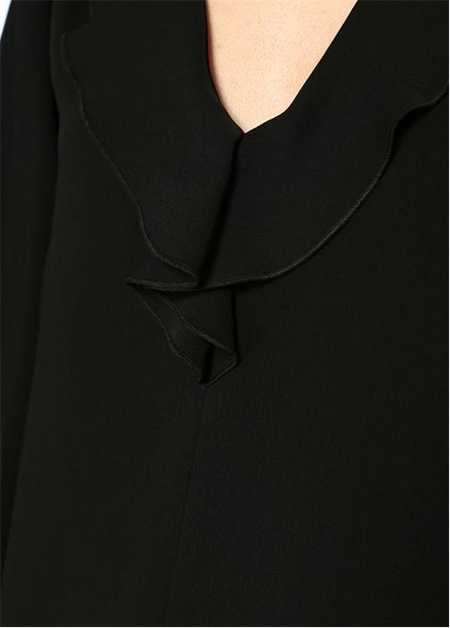 Siyah Yakası Fularlı Uzun Kol Midi Elbise