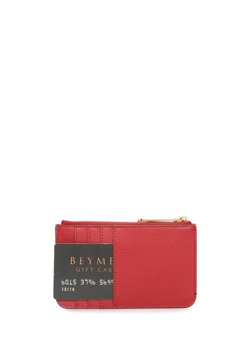 Kırmızı Kahverengi Logolu Kadın Deri Kartlık
