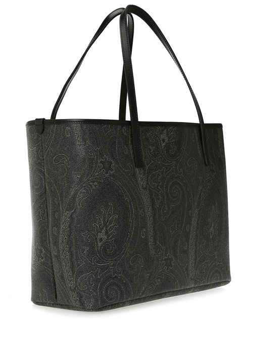 Siyah Etnik Desenli Kadın Alışveriş Çantası
