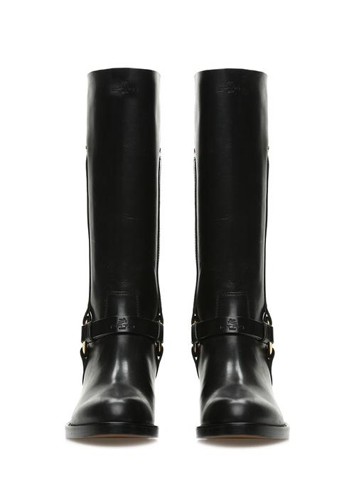 Siyah Logolu Kadın Deri Çizme