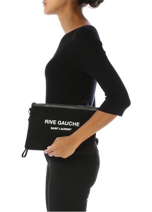 Rive Gauche Siyah Kadın Kanvas El Portföyü