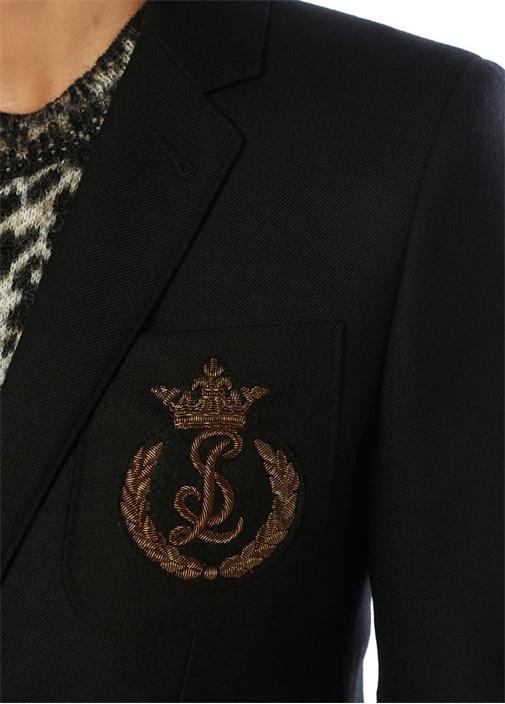 Siyah Logo Patch Detaylı Yün Blazer Ceket