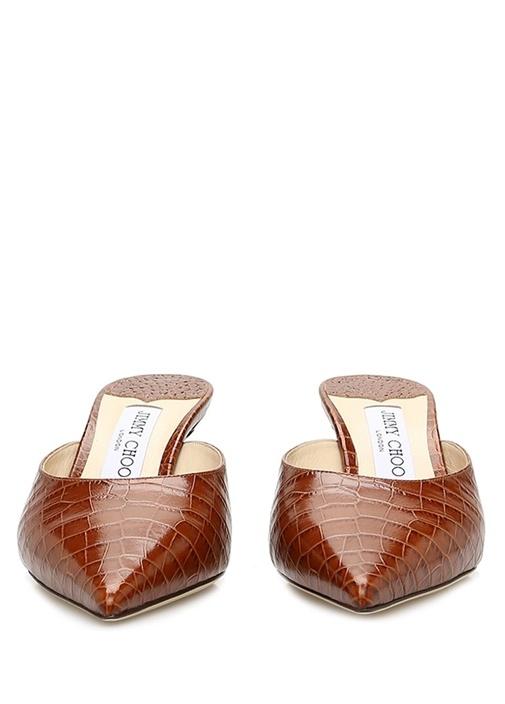 Rav Kahverengi Krokodilli Deri Topuklu Ayakkabı