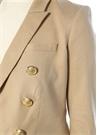 Bej Kırlangıç Yaka Keten Ceket