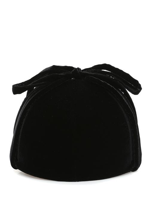 Siyah Kulak Detaylı Kadın Kadife Şapka