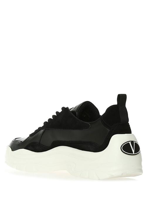 Siyah Logolu Erkek Süet Deri Sneaker