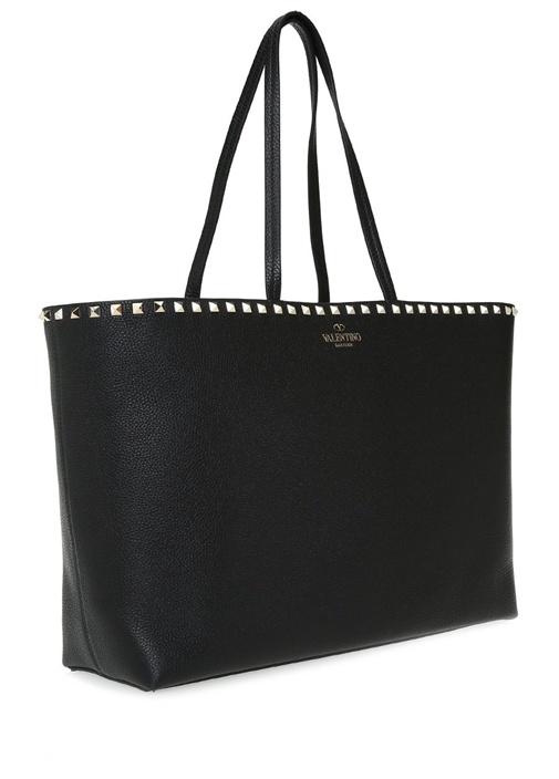 Siyah Dokulu Kadın Deri Alışveriş Çantası
