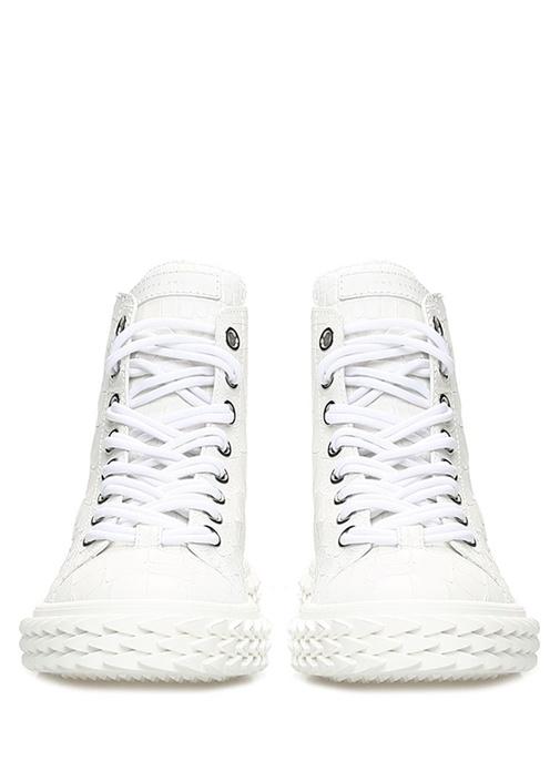 Blabber Beyaz Dokulu Kadın Deri Sneaker