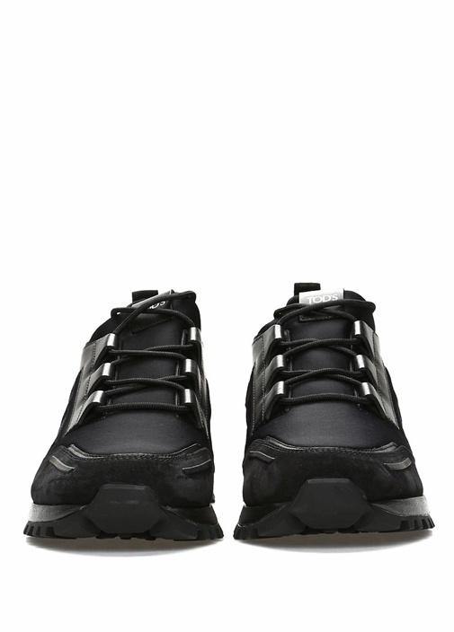 Siyah Logo Detaylı Erkek Deri Sneaker