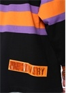Siyah Polo Yaka Şeritli Sweatshirt