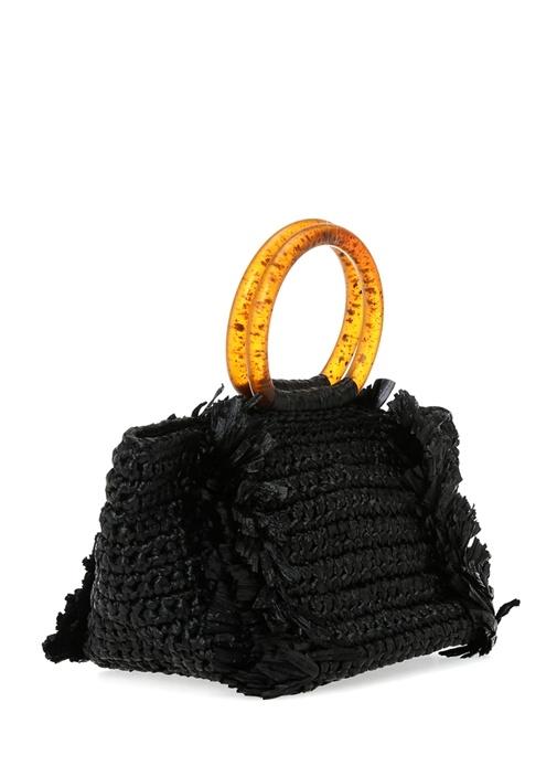 Corallina Siyah Hasır Dokulu Kadın El Çantası