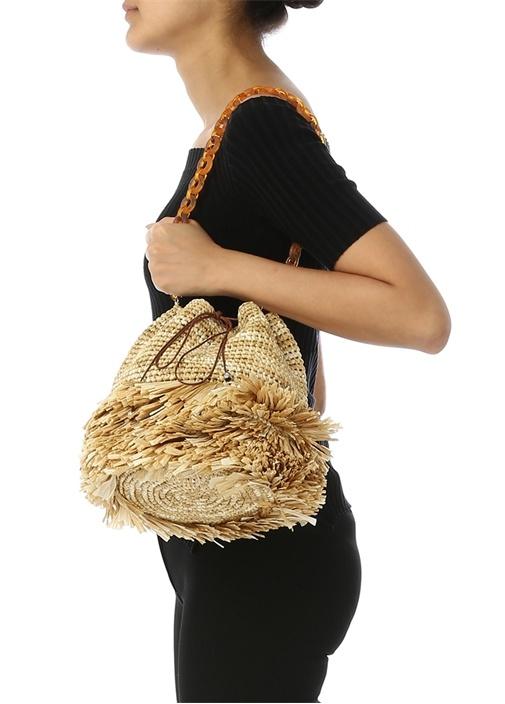 Corallina Large Bej Büzgülü Kadın Omuz Çantası