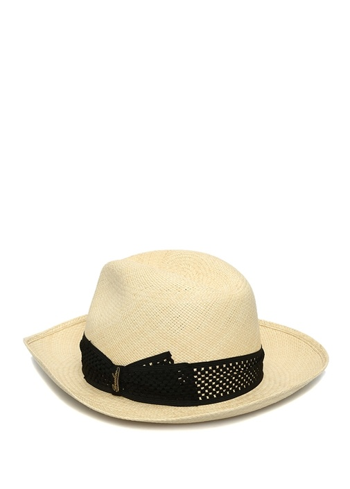 Bej Siyah Desenli Bant Detaylı Erkek Hasır Şapka