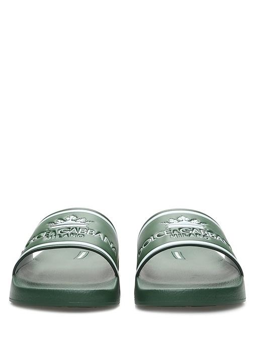 Yeşil Beyaz Logolu Erkek Deri Terlik
