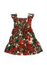 Portofino Kırmızı Çiçekli Çocuk Poplin Elbise
