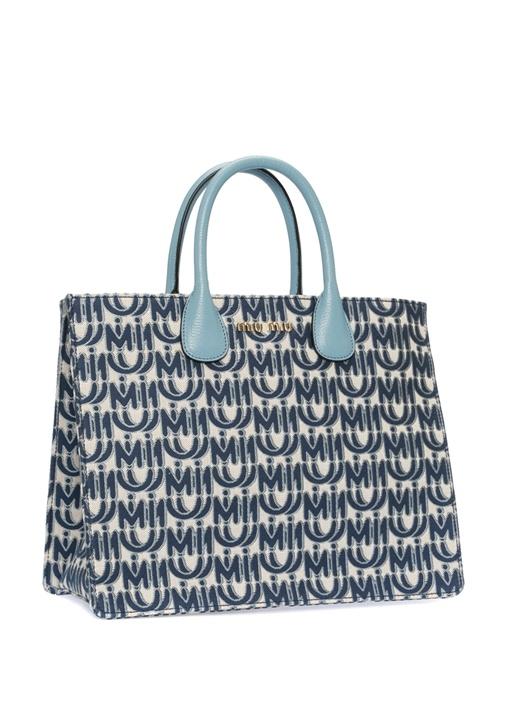 Mavi Mikro Logolu Kadın Kanvas Alışveriş Çantası