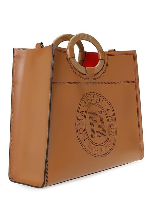 Runaway Taba Logo Delikli Deri Alışveriş Çantası