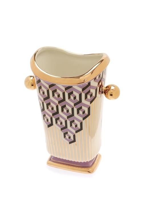 Versailles HexGold Mor Desenli Porselen Vazo