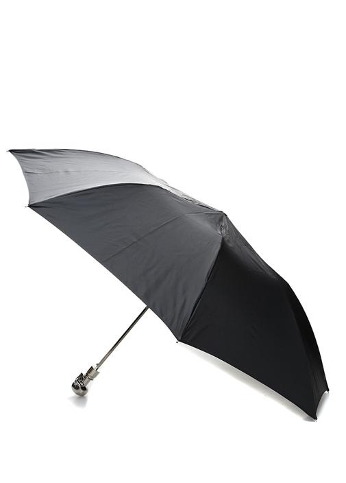 Siyah Silver Kuru Kafa Detaylı Şemsiye