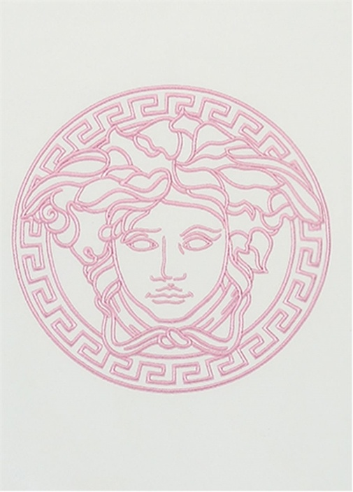 Medusa Beyaz Pembe Logo Baskılı Bebek Battaniye