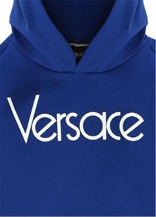 Mavi Beyaz Kapüşonlu Logolu Erkek BebekSweatshirt