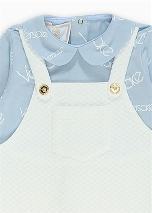 Beyaz Mavi Bebe Yaka Garnili Bebek Tulum