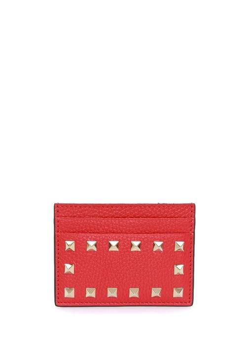 Rockstud Kırmızı Kadın Deri Kartlık