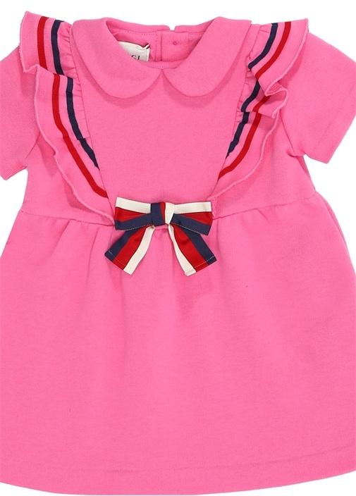 Pembe Fırfırlı Fiyonk Detaylı Bebek Elbise