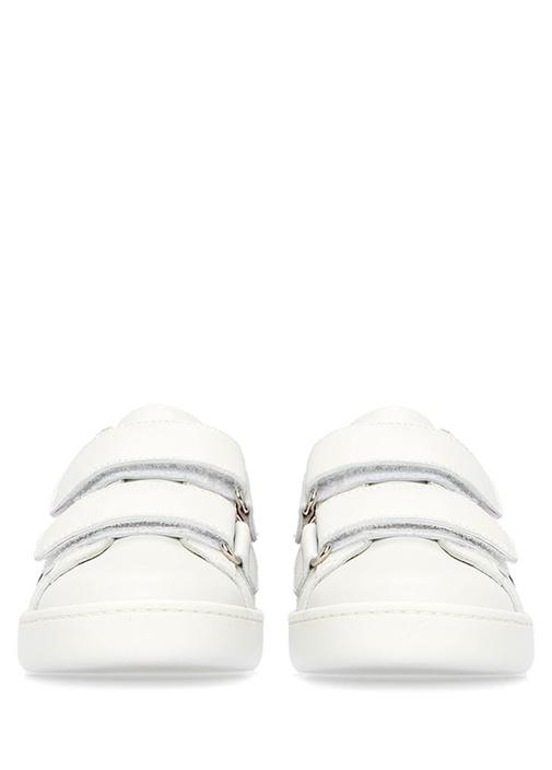 Beyaz Logo Şeritli Çocuk Deri Sneaker