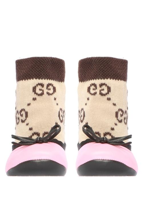 Pembe Logo Jakarlı Çoraplı Kız Bebek Babet