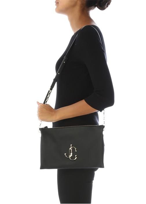 Varenne Siyah Logolu Kadın Deri Omuz Çantası
