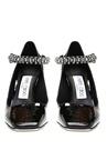 Siyah Taşlı Bantlı Kadın Rugan Topuklu Sandalet