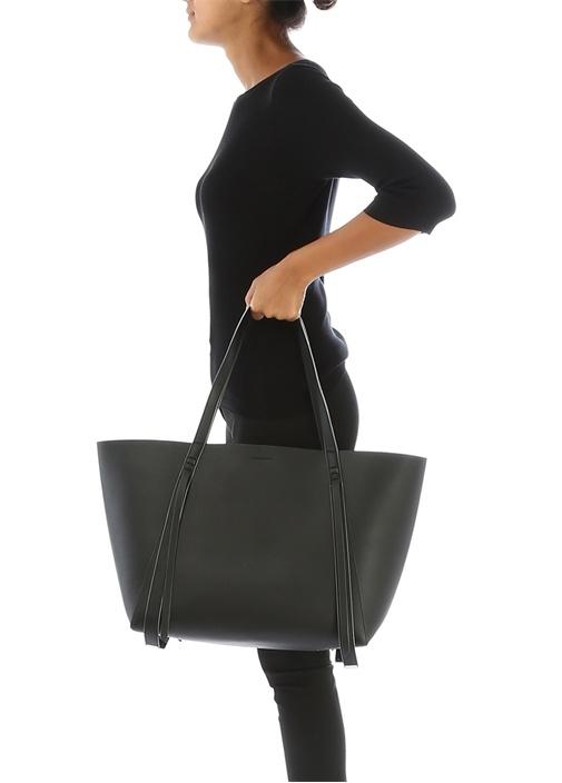 Playa Siyah Logolu Kadın Deri AlışverişÇantası