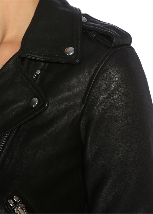 Lexi Siyah Kemer Detaylı Deri Ceket