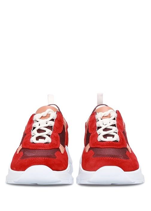Kırmızı File Dokulu Kadın Deri Sneaker