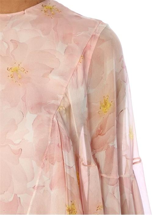 Pembe Çiçek Desenli Fırfırlı Maksi Abiye Elbise