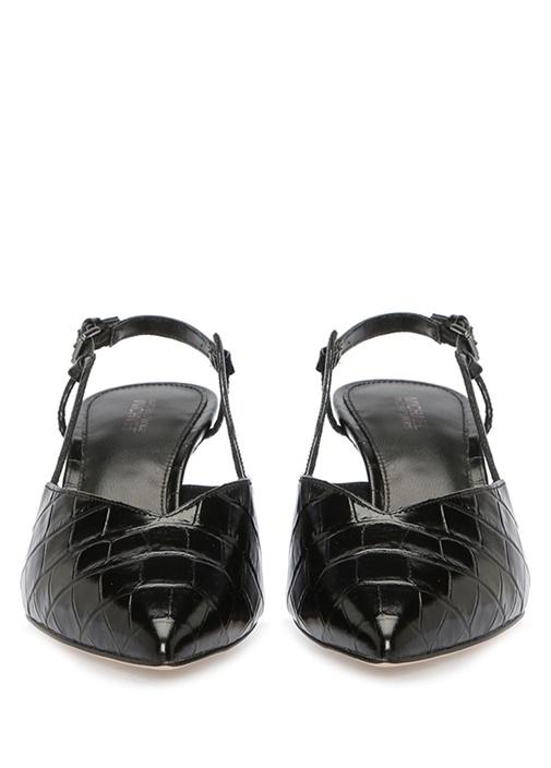 Mila Siyah Krokodil Topuklu Deri Sandalet