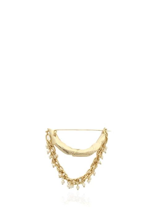 Gold Zincirli İnci Detaylı Broş