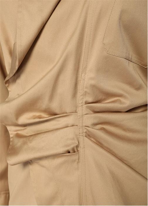 Kamel Asimetrik Drapeli Uzun Kol Mini Elbise