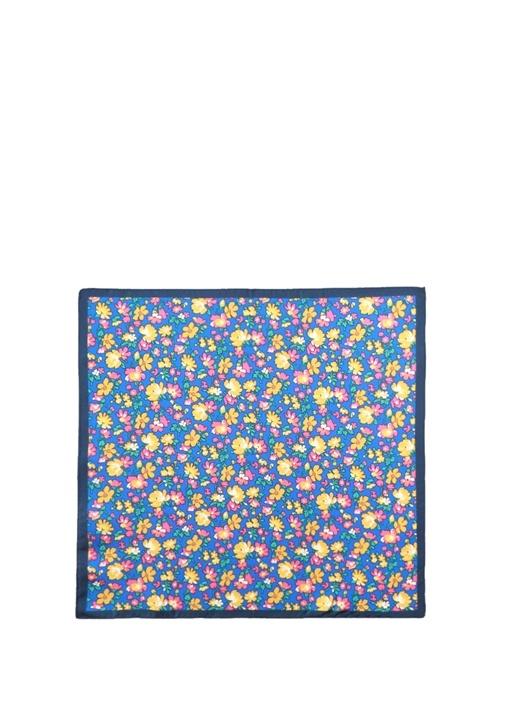 Mavi Çiçek Desenli İpek Poşet Mendil