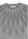 Gri Zincir İşlemeli Kız Çocuk Kaşmir Sweatshirt