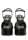 Bianca Siyah Düğüm Detaylı Kadın Deri Sandalet