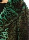 Fanny Yeşil Leopar Desenli Suni Kürk Palto