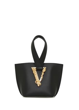 Versace Kadın Siyah Logolu Deri Omuz Çantası EU female Standart