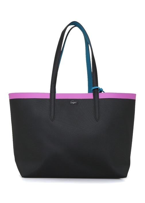 Siyah Mavi Logolu Çift Taraflı Alışveriş Çantası