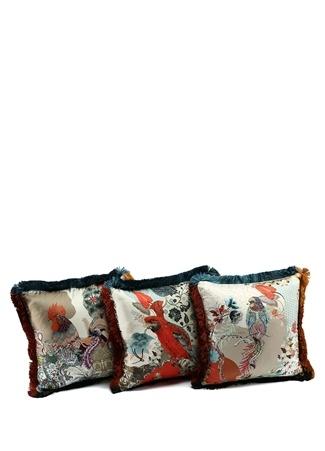 Etro Home Desenli 45x45 cm 3lü İpek Dekoratif Yastık Seti Çok Renkli Standart