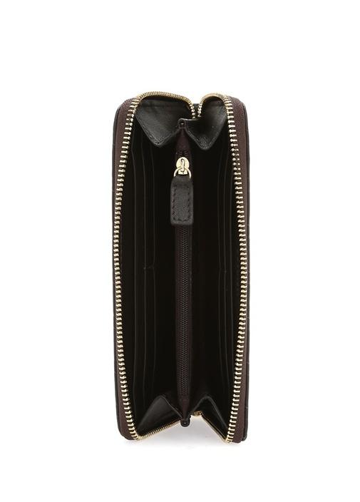 Siyah Örgü Dokulu Logolu Kadın Deri Cüzdan