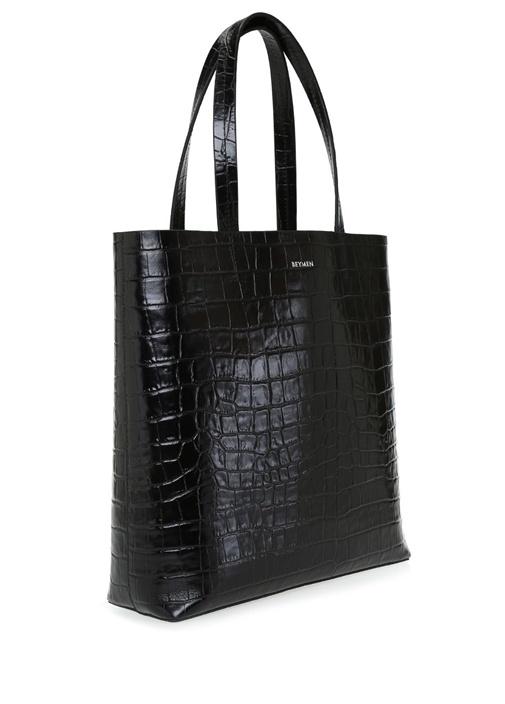 Aden Siyah Krokodilli Kadın Deri Alışveriş Çantası